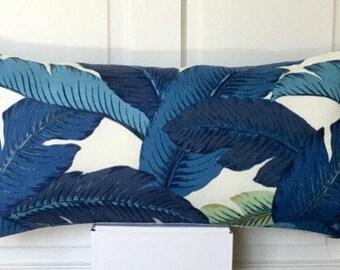 Tommy Bahama  Lumbar Cushion / Pillow Cover Tropical  Swaying  Palm Indigo - banana leaf - blue - turquoise