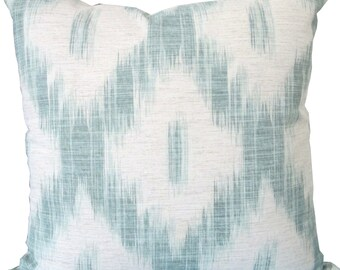 Large Aqua and Ivory Diamond Ikat-Designer Decorative Pillow Cover-Kilims-Kravet-Throw Pillow-Toss Pillow-Pillow Cushion-Double Sided