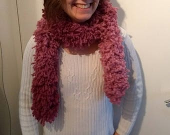 Scarf - Boa - pink acrylic and wool