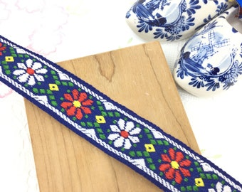 Red & White Flower on Blue Jacquard Ribbon Trim, 2.5cm, per Yard