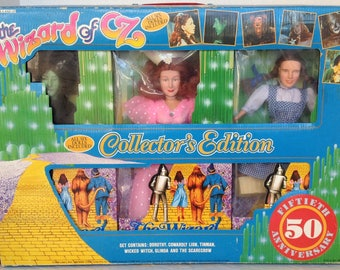 The Wizard of Oz Collectors Edition 1988 COMPLETE SET 6 dolls NEW 8856 8875 Dorothy Cowardly Lion Tinman Wicked Witch Glinda Scarecrow
