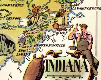1940's Pictorial INDIANA Map State Map of Indiana Print Cartoon Map Gallery Wall Art Map Collector Gift for Traveler Wedding Vacation