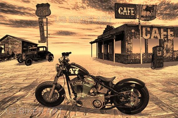 harley davidson bobber moto route 66 nostalgique road trip art. Black Bedroom Furniture Sets. Home Design Ideas