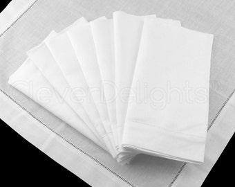 "6 Pack - 20"" White Hemstitch Dinner Napkins - 55/45 Linen/Cotton Blend - Ladder Hemstitch Cloth Napkins - Embroidery Supplies - 20"" x 20"""