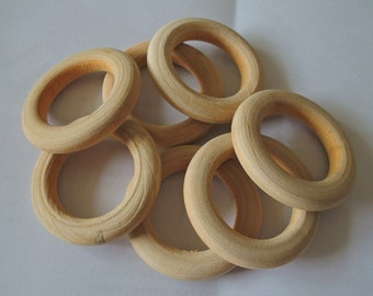 6Pcs Large  40mm Wood  Ring  Unfinished Wooden Circle No Varnish (W065)