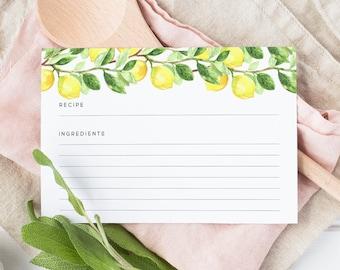 Lemon Recipe Cards