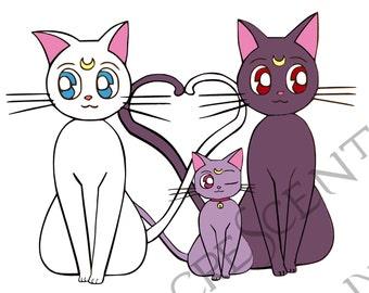 Sailor Moon Multi Color Die Cut Vinyl Decal Sticker * Luna Artemis Diana* Ipad, Laptop, Mirror, Car, Windows, etc