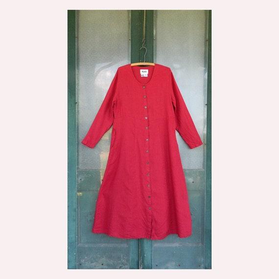 FLAX Engelheart Long Sleeve Dress Coat -S- Raspberry Red Linen