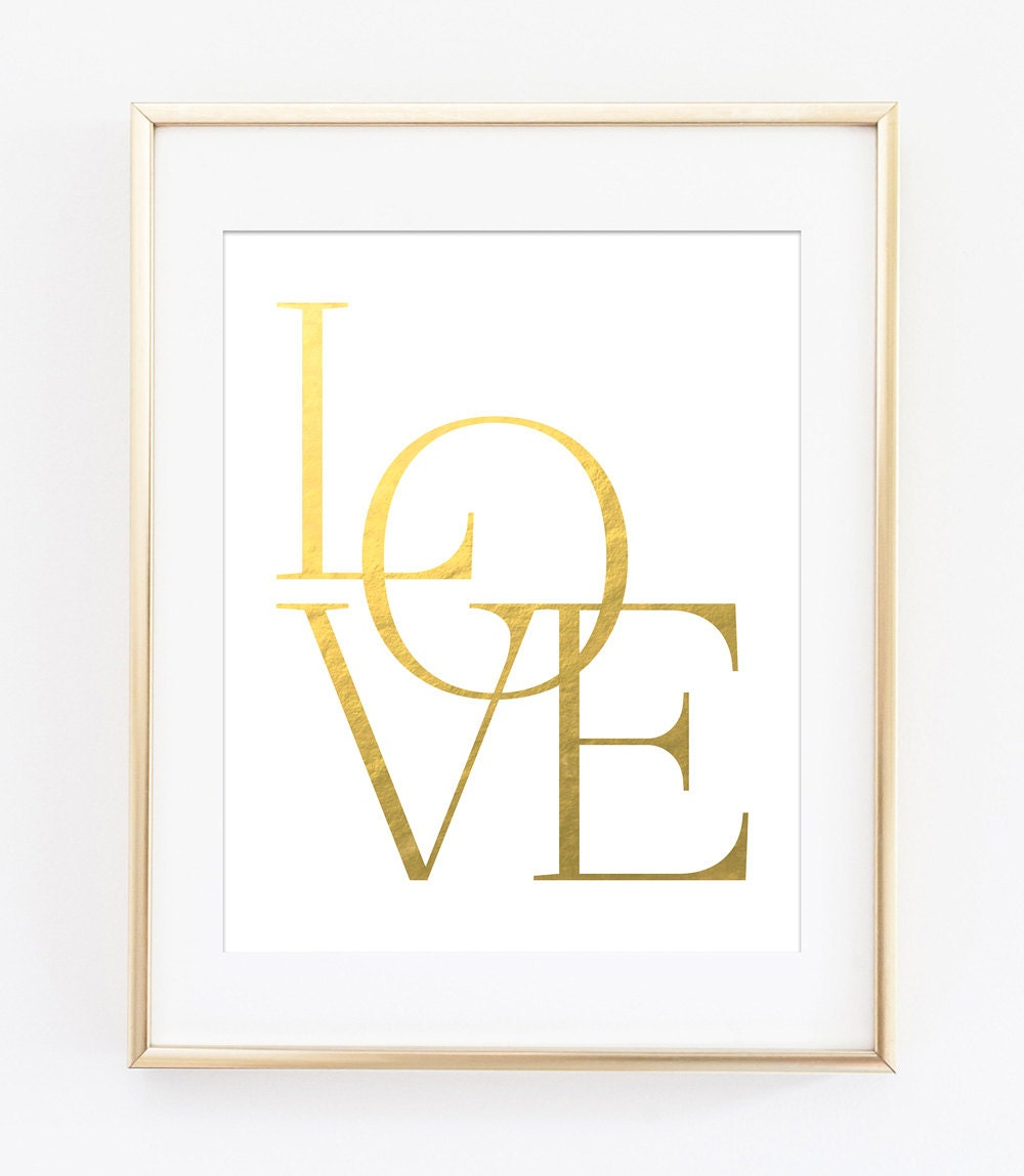 Gold Letter Wall Art Love Printable Love Wall Art Gold Love Print Gold