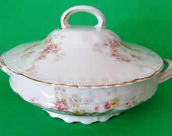 Victoria Austria Antique Round Covered Vegetable Bowl, Bohemian Porcelain, Vintage