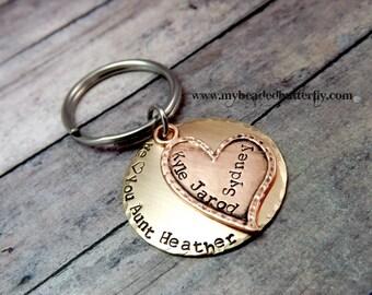 Mothers day key chain-personalized key chain-mom key chain-aunt key chain-heart keychain-personalized key chain