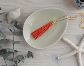 Orange Tassel Necklace / Long Necklace with Orange, Rust, or Pastel Orange Tassel