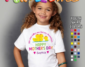 Happy Mother's Day T-Shirt - No One Loves me Like my Mommies - Girls - Youth - Personalized with Name (Gay / Lesbian / 2 Mommies)