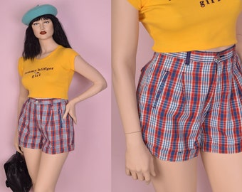 90s Plaid High Waisted Shorts/ US 11-12/ 1990s