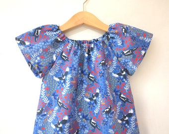 dress - blue magpies / cotton peasant-style dress navy coral / eco friendly / Australiana  / girl toddler / size 1 2-3 4 5 6 7-8 9 years