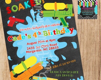 CHALKBOARD WATERPLAY invitation - you print