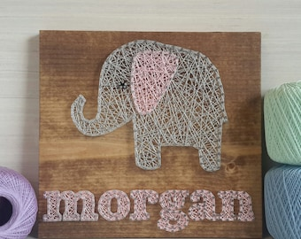 Personalized Name Custom String Art Elephant Wall Art Girls Wall Sign Baby Room String Art Name Wooden Signs for Nursery