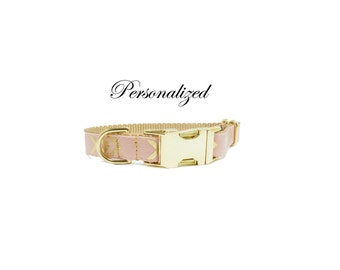Personalized Dog Collar, Pink and Gold Chevron Print, Being Discontinued, All Sales Final,