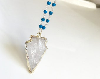 Crystal Quartz Silver Arrowhead Necklace with Natural Turquoise Stone Beaded Chain, Boho Long Necklace, Rosary Beaded Necklace