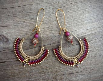 macrame earrings, beaded earrings, acai beads, glass seed beads, silver 24K gold plated beads, gold plated earwires, brass drop