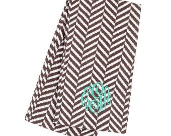 Monogram Scarf - Stripe Scarf - Herringbone Scarf - Monogrammed Scarf - Personalized Scarf - Gifts For Her - Gifts Under 25 Dollars