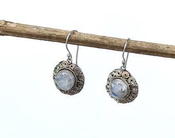 Vintage Sterling Silver Rainbow Moonstone Gemstone Earrings, Rainbow Moonstone Jewelry