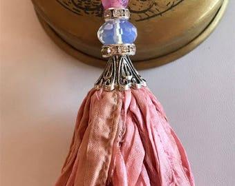 Silk Sari Tassel Necklace-Pink Tassel-Boho Tassel Jewelry