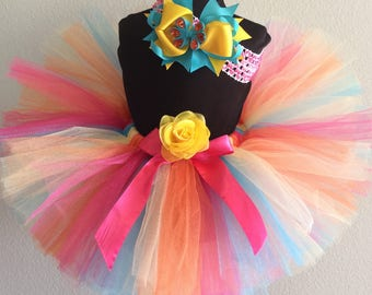 Summer Birthday tutu and hair bow-custom made up to girls' size 6x