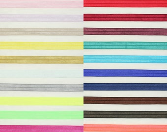 """5 yards of 5/8"""" (15mm) fold over elastic Spandex Stretch Satin Band Glossy Hair Ties Accessories / Annielov Trim Lace 280 - 24 colors"""