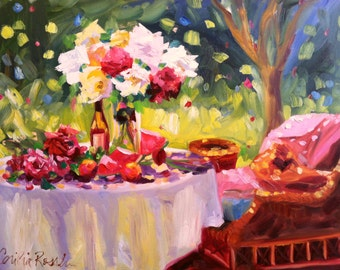 SUMMER TABLE Art Print of Original Oil Painting, Rose Table still life