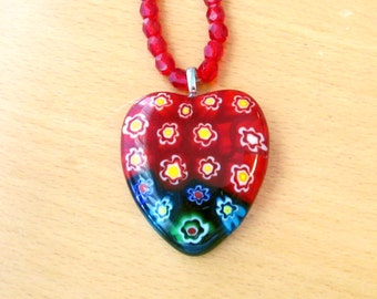 Millefiori Necklace, Red Heart Millefiori Pendant and Glass Bead Necklace