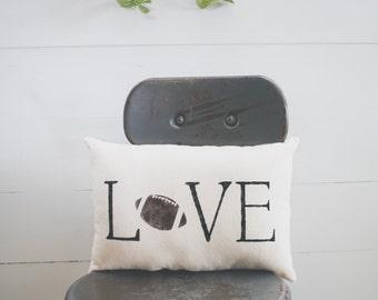 Love - FOOTBALL Decorative Pillow Decor Pillow Simple Pillow Sport Pillow burlap 15x10 farmhouse pillow