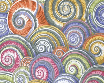 Fabric by the Yard --Spiral Shells in grey-- Jacob Philip for Westminster