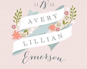 Personalized Floral Birth Announcement Print for Baby Girl Nursery
