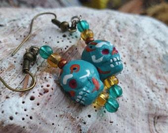 Blue Ceramic Sugar Skull Earrings
