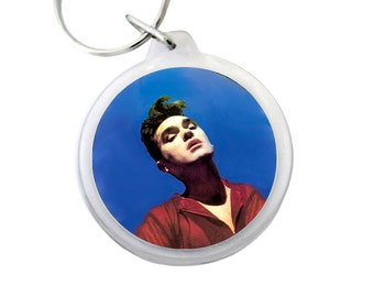 """Morrissey Keyring - BONA DRAG Album Cover Pic on Keychain - Morrissey lead singer of The Smiths from the UK - 1.75"""" Keychain"""