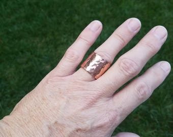 Copper Ring, Copper Cuff Ring, Hammered Copper Ring