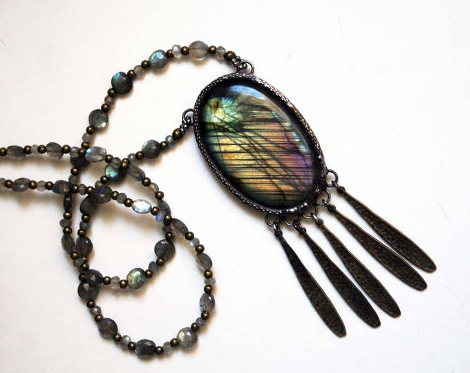 Rainbow Labradorite Crystal Fringe Necklace // Purple Labradorite Statement Necklace
