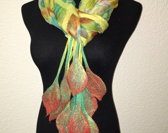 Felting Nuno Felted weightless Scarf Green yellow red turqouise Merino Wool Silk Viscose Perfect Gift for any occasion