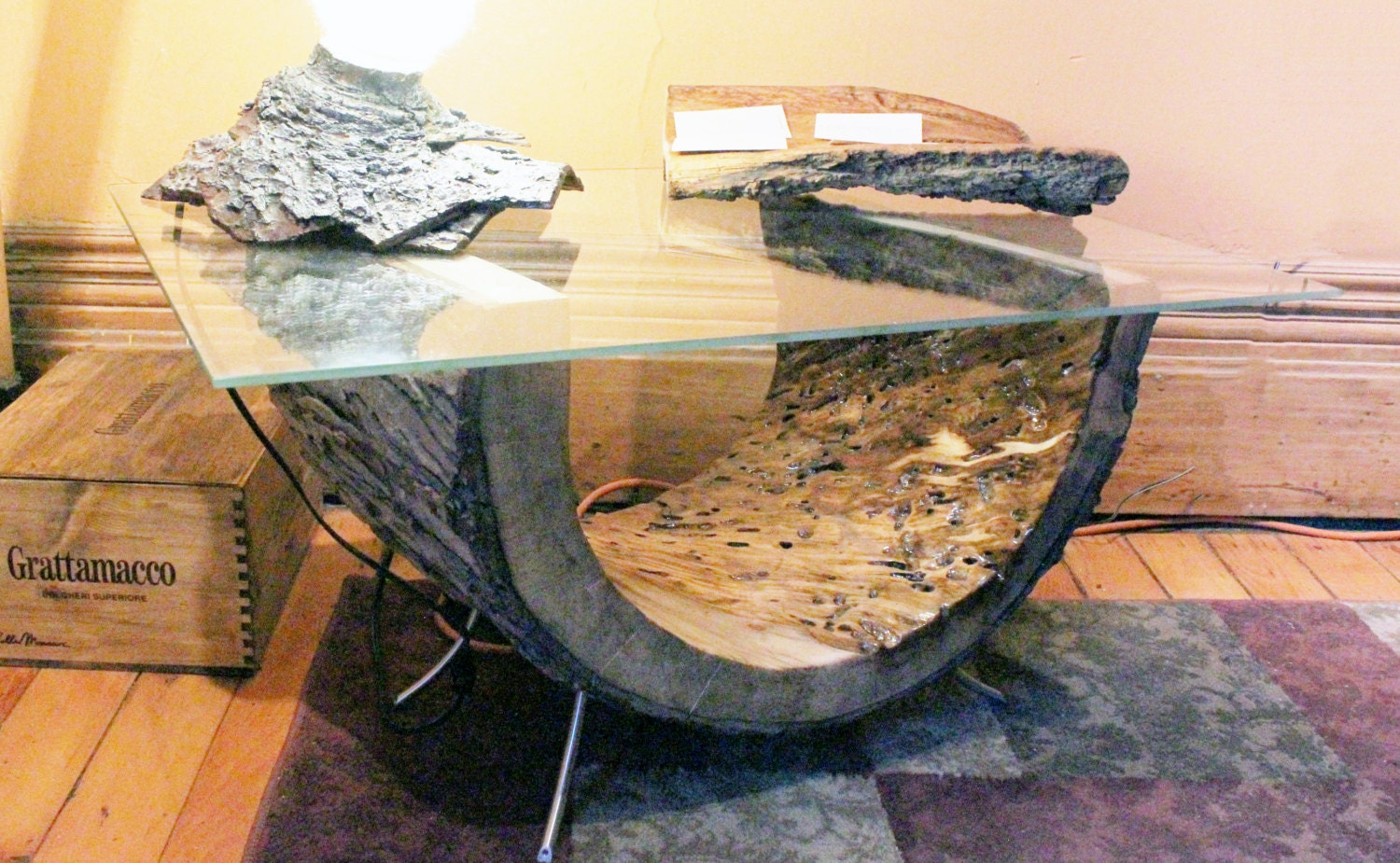 Live edge coffee table wood coffee table glass coffee table Live wood coffee table