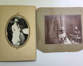 Lot of Two Cabinet Cards Photos Identified Nurses and babies