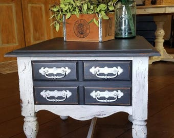 Shabby Chic Black and White End Table