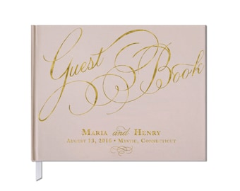 Gold and Blush Wedding Guest Book •Custom Guest Book • Custom Calligraphy • Landscape Orientation