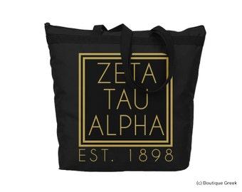 ZTA Zeta Tau Alpha Foil Frame Sorority Tote
