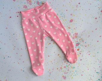 Baby Footed Leggings - Baby Shower Gift - Princess - Pink Leggings - Crowns - Baby Girl - Toddler - Newborn Gift