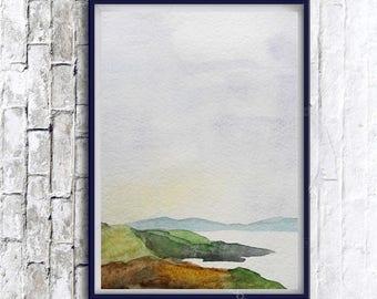 Original landscape, Watercolor Painting landscape, Modern Art, Minimalist landscape, Art Print, Modern Minimalist Art, Abstract landscape