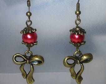 Earrings red and bronze