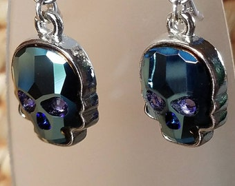 Metallic blue crystal skulls, sugar skulls, Dia De Los Muertos, day of the dead drop earrings.