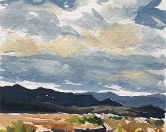Original Gouache Painting - California Coast Mountains - by Sharon Schock, fits 8x10 frame