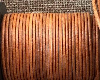 2mm Round Leather Cord - Natural Tan - Choose 1 Yard to 25 Yards - 2mm Natural Tan Round Leather Cord Made In India - LCR2-114